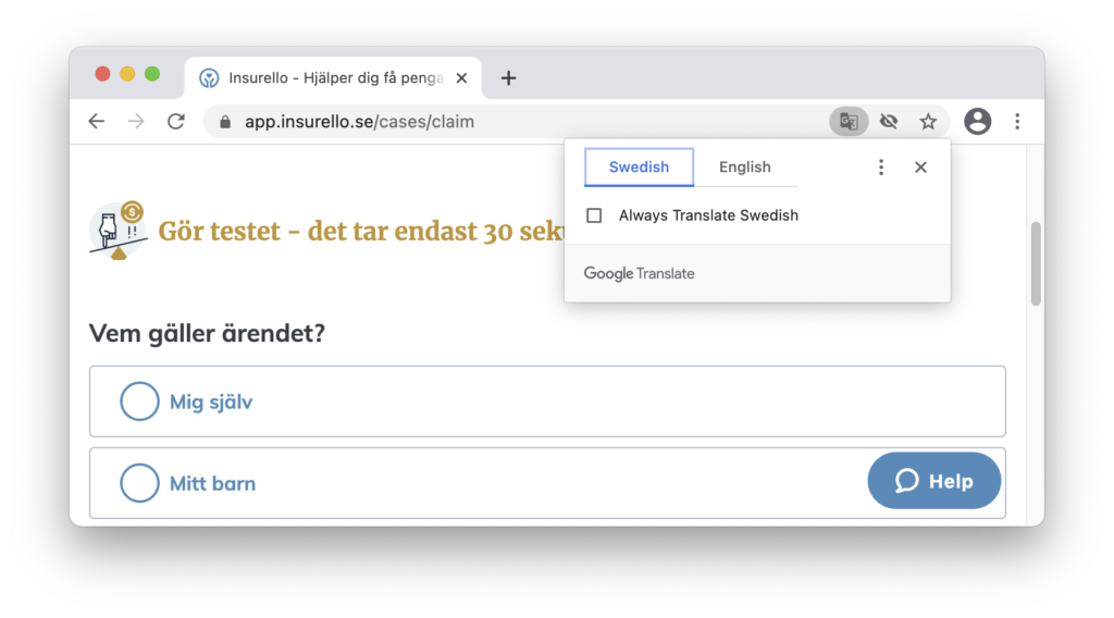 Google Chrome offers to translate pages via a popup in the address bar.